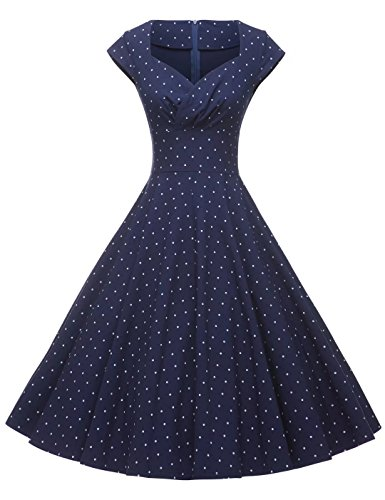 GownTown Womens Dresses Party Dresses 1950s Vintage Dresses Swing Stretchy Dresses Dark Blue Dot X-Large