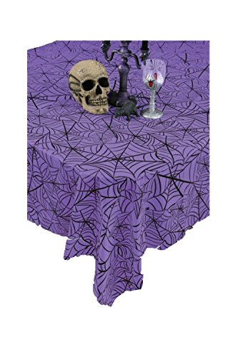 Faerynicethings Halloween Spider Web Tablecloth Assorted (Purple)