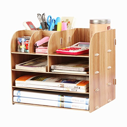 Office Supplies Desktop Organizer File Tray Wooden Pen Holder Sorter Storage Books Container Makeups Box Magazines Racks Counter Accessories Remote Controls Case Home School Student Workspace