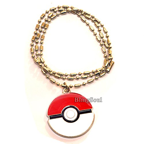 Pokeball Pendant Necklace Jewelry by BlingSoul – Pokemon Costume Accessories for Womens