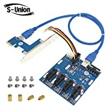 S-Union New PCI-E Expansion Kit 1 to 4 Ports Switch Multiplier Hub Riser Card PCI-E 1X Express with USB 3.0 Cable & SATA Power Cable Pcie BitCoin Mining Modules
