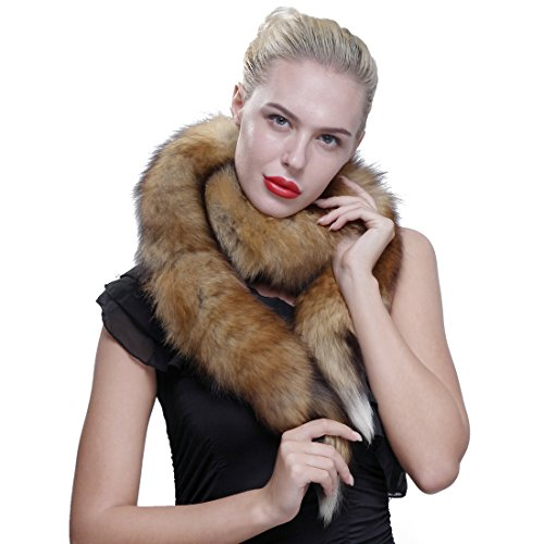 URSFUR Authentic Red Fox Fur Boa Scarf for Women
