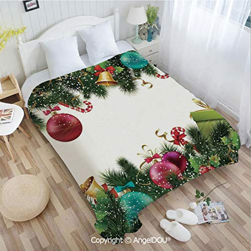 AngelDOU Portable Car Air Conditioner Blanket W55 xL72 Happy New Year Greeting Decoration with Holly Garland Artful Design for Home Couch Outdoor Travel.