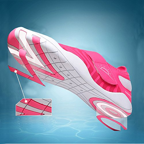 Casual L Mutifunctional RUN Wading Outdoor Rose Flat Breathable Shoes Red Sports Heeled Unisex Mesh zqApxrwz