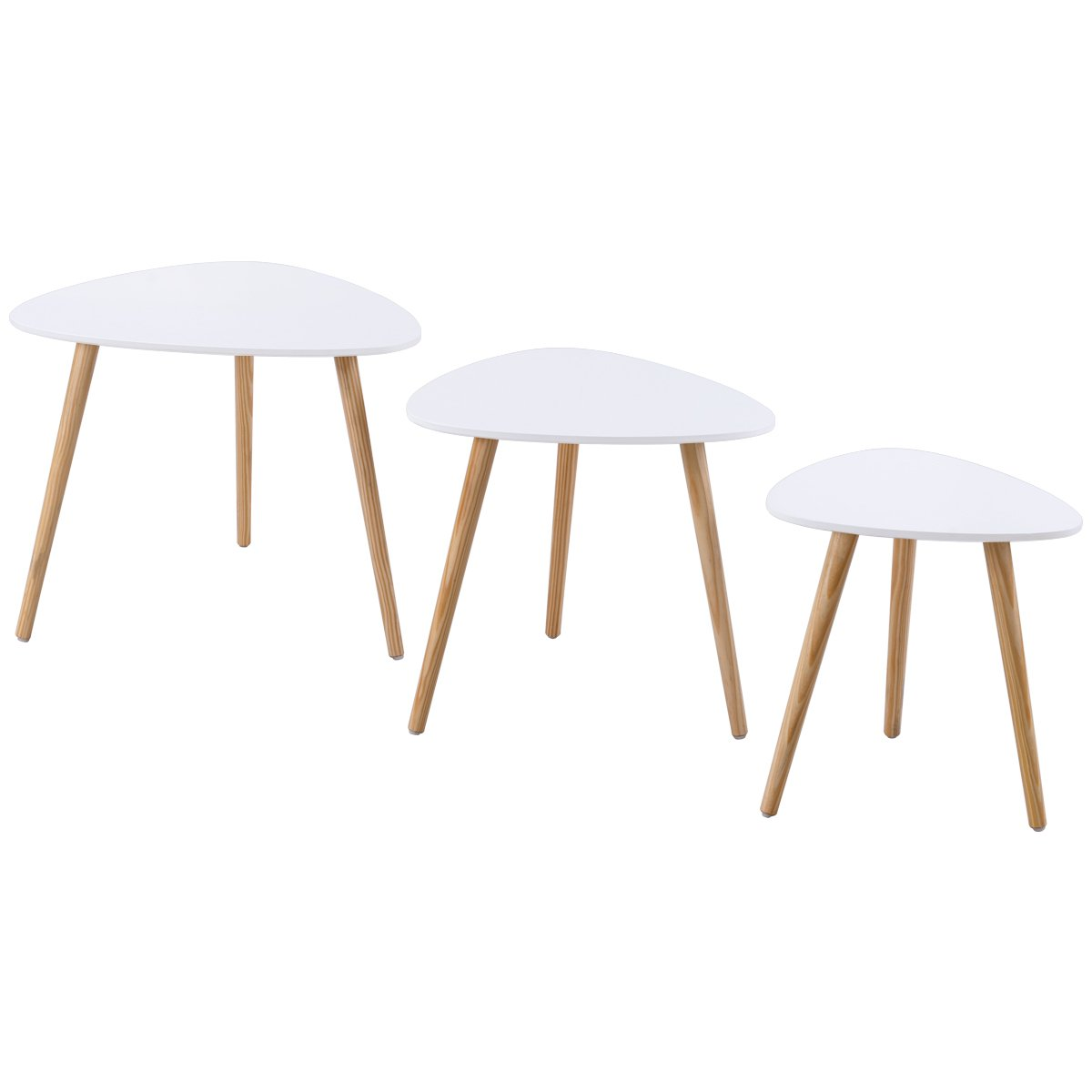 Giantex End Table Nesting Coffee Table Wood Sofa Side Table Accent End Tables w/Splayed Leg Set of 3 (White)