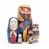 "Bits and Pieces - Holy Family Nesting Dolls - Matryoshka Dolls - Russian Nesting Dolls - Hand-Painted Hand-Made Wooden Nativity Family Figurines - Stacking Dolls Set of 5 Dolls From 5.5"" Tall"