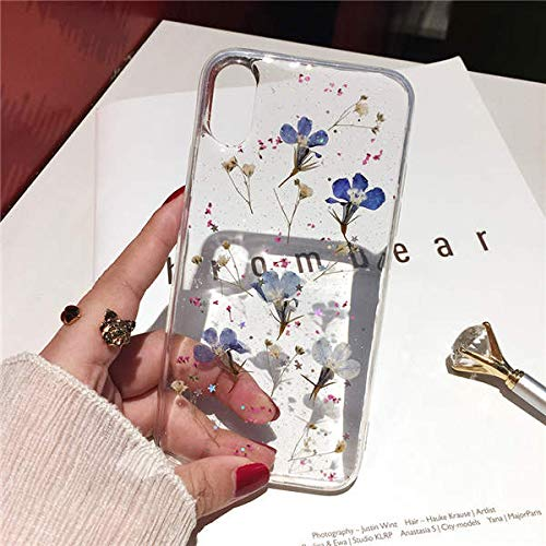 (Fitted Cases - Real Flowers Dried Flowers Transparent Soft Tpu Cover For Iphone X 6 6s 7 8 Plus Phone Case For Iphone Xr Xs Max Cover - For Iphone Xs Max 4 - Color Pineapple Glitter Sideways)