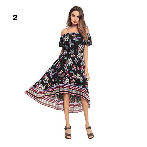 2e15045d00a3 Sommer Damen Boho Schulterfrei Floral bedruckten Kleid Kurzarm Strand Maxi  Kleider Schwarz wls5iRBW