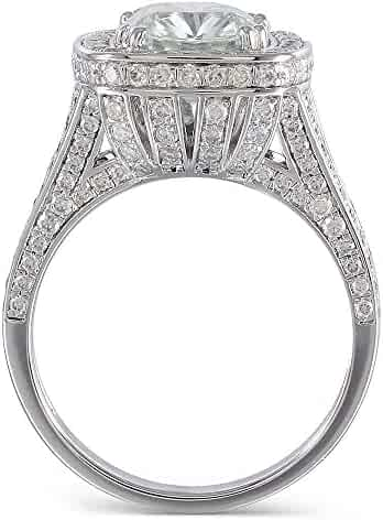 DOVEGGS 3K White Gold Center 3ct 8X9mm Cushion Cut 2.9mm Band Width Moissanite Halo Engagement Ring with Accents