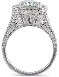 3K White Gold Center 3ct 8X9mm Cushion Cut 2.9mm Band Width Moissanite Halo Engagement Ring with Accents