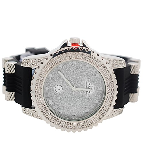 Mens Techno Pave Iced Out Lab Simulated Diamond Bottle Cap Black Silver Plated Tone Watch with Black Bullet Sports Band