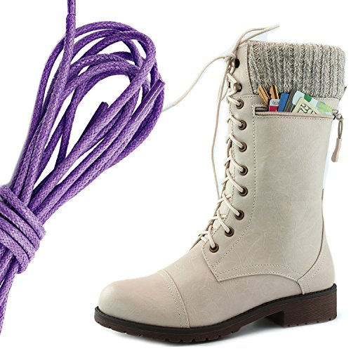 Dailyshoes Womens Combat Stijl Lace Up Enkellaarsje Ronde Teen Militaire Knit Creditcard Mes Geld Portemonnee Pocket Laarzen, Paars Ivoorwit Pu