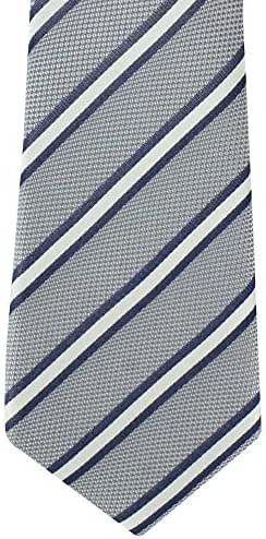 Grey/White/Navy Classic Stripe Silk Tie by Michelsons of London