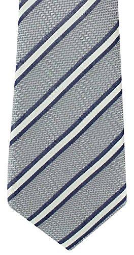 London Silk Necktie (Grey/White/Navy Classic Stripe Silk Tie by Michelsons of London)