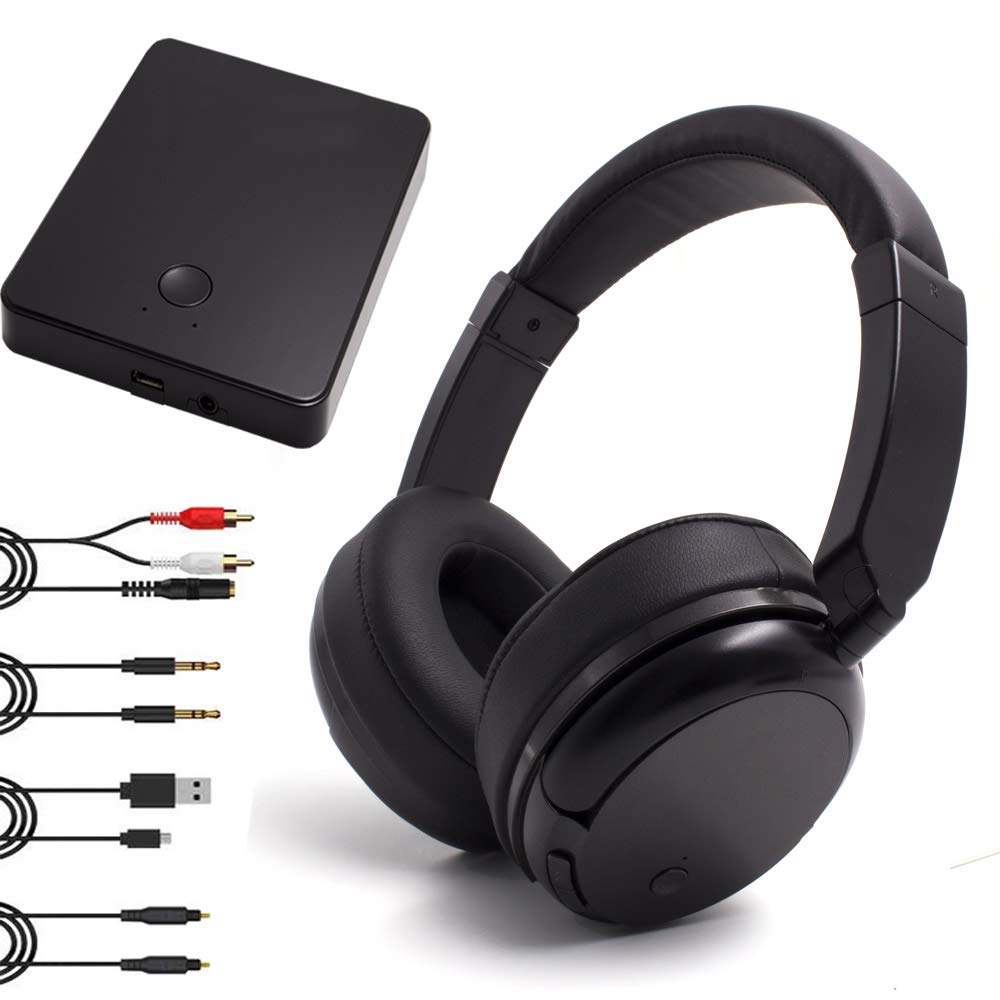 Wireless Headphones for TV Watching, 2.4GHz Wireless TV Headphones Support Optical, 3.5mm AUX, RCA , 100ft Distance Rechargeable Transmitter, Foldable No Delay TV Headphones Wireless