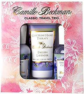 product image for Camille Beckman Classic Collection Travel Trios, English Lavender, Glycerine Hand Therapy 1.35 oz, Silky Body Cream 2 oz, Hand & Shower Cleansing Gel 2 oz