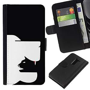 All Phone Most Case / Oferta Especial Cáscara Funda de cuero Monedero Cubierta de proteccion Caso / Wallet Case for LG G2 D800 // arte inteligente perro gato moderna en yang negro