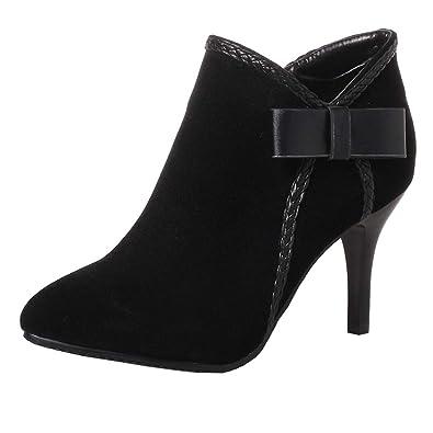 fa6ec11fbb19c4 Y2Y Studio Bottines Femmes Chaussures Sexy Bout Pointu à Talons Aiguilles  Hauts avec Petit Noeud pour