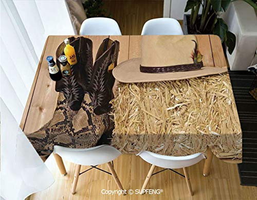 Picnic Tablecloth Snake Skin Cowboy Boots Timber Planks in Barn with Hay Old West Austin Texas (60 X 84 inch) Great for Buffet Table, Parties, Holiday Dinner, Wedding & More.Desktop Decoration.Polyes]()