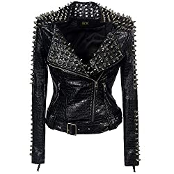 Faux Leather PU Black Jacket With Studded Rivet