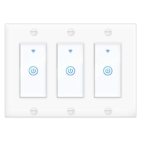 Smart Wi-Fi Light Switch(3 Gang), 100V-240V Compatible with ... on 3 phase light switch wiring, 3 gang light switches, 3 gang electrical wiring, 3 gang dimmer switch, 4 gang light switch wiring, 2 gang light switch wiring,