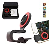 Mobile Joystick, Phone Game Rocker with Phone Ring Holder Touch Screen Joypad for iPhone/Smart Phones (Red)