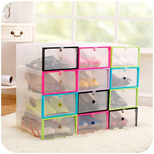 Promotional Clipboards - Hiquty Multifunction Plastic Transparent Shoe Storage Box DIY Organizer Stackable Drawe ( Green )