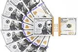 Toys : Realistic Double Sided Prop Money - Set of 100 $100 Dollar Bills $10,000 with Orange Currency Strap - Full Print Paper Money for Movie, TV, Videos, Pranks, Advertising & Novelty, 6.25 x 2.5 Inches