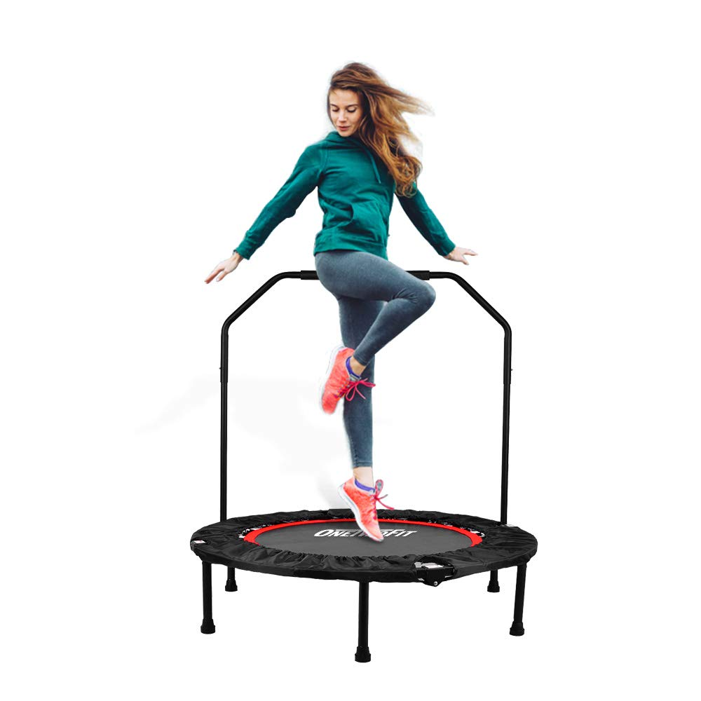 OneTwoFit 40'' Indoor Trampoline with Handrail,Foldable Fitness Trampoline for Adults,Rebounder Trampoline Exercise Trampoline for Indoor/Garden/Workout Cardio OT017