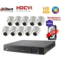 Dahua Penta-brid 1080P Security Package: 16CH 1080P Penta-brid XVR5216 5 in 1 (CVI TVI AHD IP and Analog) w/3TB Security Hard Drive+(10)2MP Outdoor IR HDW1200 3.6MM Eyeball (NO LOGO OEM Local Support)