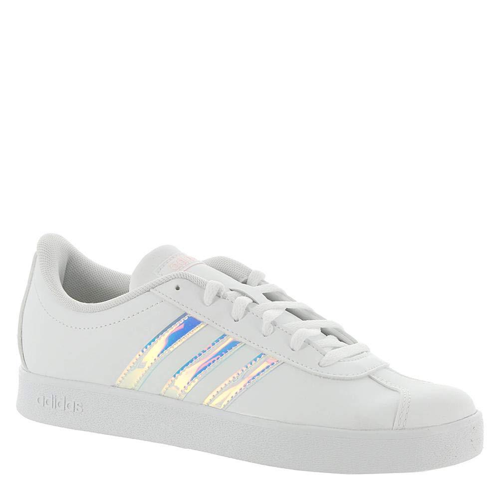 adidas Kids Unisex VL Court 2 (Little Kid/Big Kid) Footwear White/Footwear White/Clear Orange 2 M US Little Kid