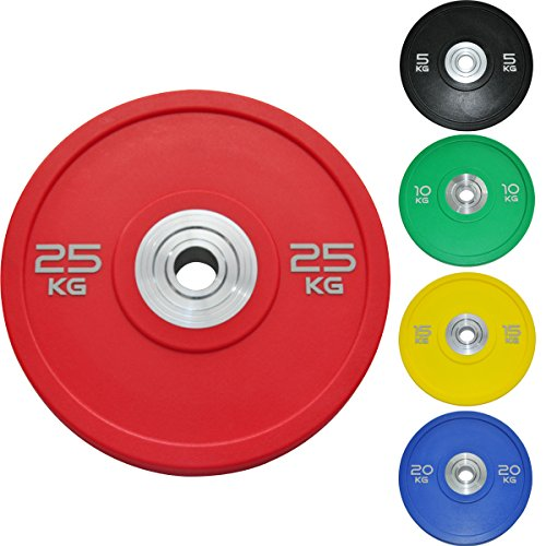 Body Revolution Olympic Rubber Bumper Weight Plates Coloured 2 Discs for Barbells Crossfit 5kg - 25kg