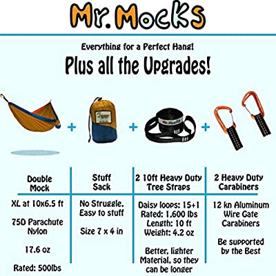 Mr. Mocks Double Hammocks with Light Weight Tree Straps and Aluminum 12kn Carabiners (Wild Turkey): Sports & Outdoors
