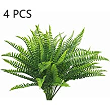 Lanldc 4 Bunches Boston Ferns Bush Plastic Artificial Grass Leaves Plant for Indoor Outside Home Garden Party Decor(Large)
