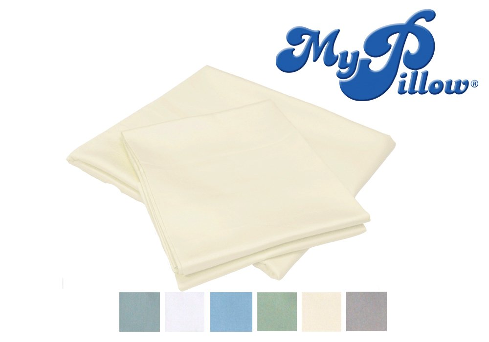 MyPillow 100% Egyptian Giza 88 Cotton Bed Sheet Set with Pillow Cases, Queen, Ivory