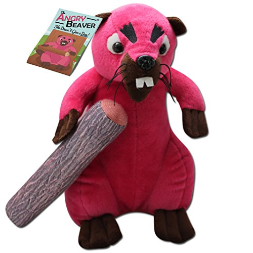 Angry Beaver - 30cm Pink Beaver Plush - 8 inches of Detachable Wood - Funny Gifts for Women (Stuffed Plush Beaver)