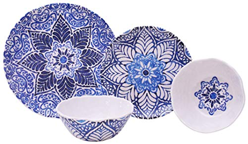 Rustic Medallion Blue 12 Piece Melamine Dinnerware Set ()