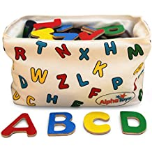 Magnetic Letters - Wooden Alphabet - 78 Refrigerator Magnets with Hanging Organizer - Perfect Storage Solution...