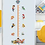 YOURNELO Cute Baby Paw Patrol Height Growth Chart Rulers Kids Room Wall Sticker Peel & Stick Wall Art Nursery Playroom Mural (Growth Chart)