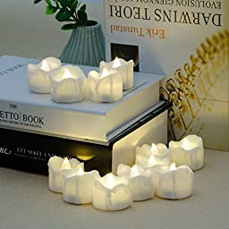 Battery Candles with Remote, 24 Packs PChero Battery Operated Candle LED Unscented Flickering Flameless Tea Lights, Last up to 48 hours, Perfect for Birthday Wedding Party Home Decor - [Warm White]