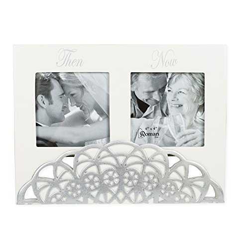 Then and Now Anniversary Double Picture Frame Keepsake Photo Display 9.25