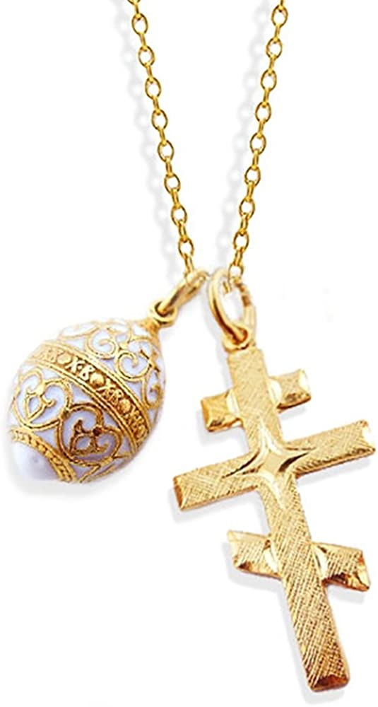 Religious Gifts Orthodox Three Bar Cross Silver Gold Tone White Egg Pendant 1 1//4 Inch
