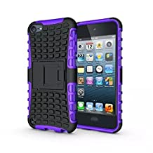 IPod Touch 5/6 Case, LUOLNH 2 in 1 Hybrid Armor Cover Tough Protective Hard Kickstand Phone Case for Apple iPod touch 5th/6th Generation(Purple)
