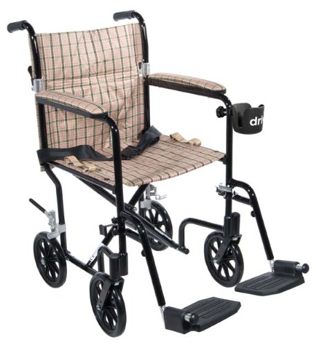 Deluxe Chair Transport Shower - Drive Medical FW19BG Fly-Weight Transport Chair, 19 Inch, Burgundy Green