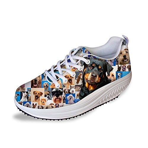 排除空洞ウミウシFOR U スポーツシューズ ウオーキングシューズ スニーカー レディース 3Dプリント 軽量 通気 動物柄 犬柄 日常着用 通勤 通学