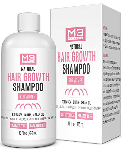 M3 Naturals Hair Growth Shampoo for Women with Argan Oil, Biotin, and Collagen - DHT Blocking Hair Loss Treatment for Thicker, Fuller Hair Regrowth - Repair Dry, Damaged Thinning Hair 16 oz