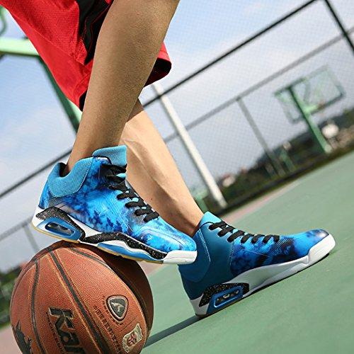 No.66 Mens Da Uomo Assorbimento Durto Da Corsa Scarpe Da Tennis Sneaker Scarpe Da Basket Blu