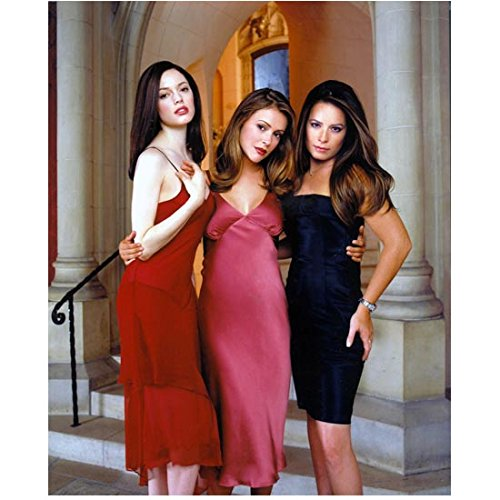 Charmed 8x10 Photo Charmed Holly Marie Combs/Piper Halliwell, Alyssa Milano/Phoebe Halliwell & Rose McGowan/Paige Matthews in Red Pink & Black Slinky Dresses Cast Photo - Dress In Phoebe Black