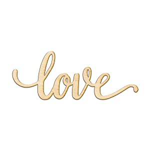 "Love Script Wood Sign Home Decor Wall Art Unfinished Charlie 8"" x 3"""