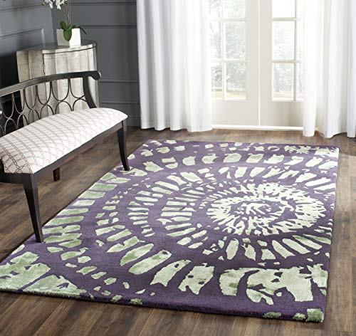 Safavieh CPR411C-5 Capri Collection Handmade Modern Abstract Art Wool Area Rug, 5' x 8', Lavender/Sage